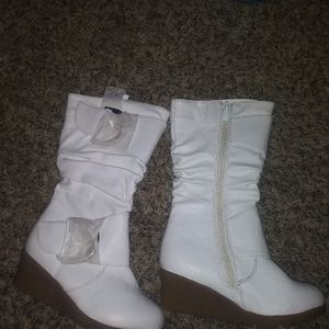 White wedged boot